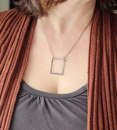 Square Sterling Silver Necklace.