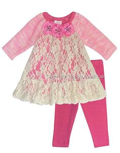 ADORABLE Peaches n Cream Pink Lace Jewel Flower Sweater Leggings Set Girls (sz 0-6x) ~Color Me Happy Boutique #Fall