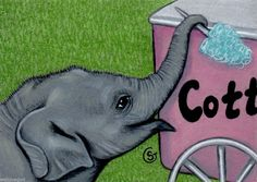 Elephant Baby Watercolor Original ACEO Art Cotton Candy Circus Fair Goeben  #Realism