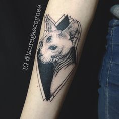 Designed and tattooed by Laura Gascoyne   Sphynx cat three eyes eyed dotwork black blackwork trippy tattoo arm