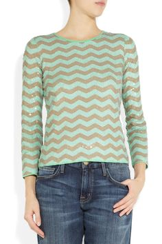 J.CrewSequined cotton sweater - in love with this #jcrew #chevron #sequins