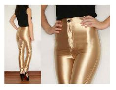 2018 New American Style Pencil Pants Shiny Disco Pants High Waist Wome – rricdress Disco Pants, Workout Pants, Leather Pants, Skinny, American, Casual, High Waist, Fitness Pants, Clothes
