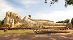 reclining buddha, rest of the Wat Lokaya Sutharam, historical park Ayutthaya, UNESCO World Heritage Site