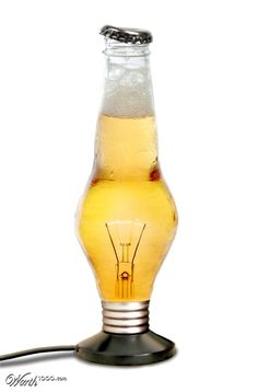 This is an example of a visual pun because it combines the light and beer to form a meaning of light beer. Visual Puns, Man Cave Room, Light Beer, Cool Diy Projects, Bottle Design, Hurricane Glass, Drinks, Tableware, Lightbulb
