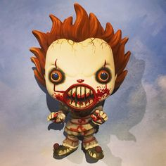 """Custom Pennywise Funko Pop by Imaginariumpop (@imaginarium_pop) on Instagram: """"Pennywise is scary! Repaint with blood!"""""""