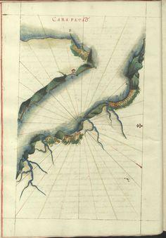 """Cod. 8033 -16746 -31 --  João de Castro (1500-1548)  """"Roteiro da costa do norte de Goa, ate Dio, no qual se descrevem todos os portos, alturas, sondas, demarcações, diferenças de agulha que ha em toda esta costa"""". [16--].  BNP Cod. 8033"""