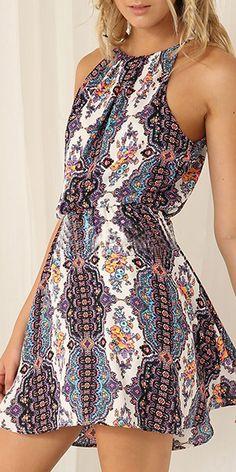 Tribal Style Floral Print Gathered Waist Sling Dress
