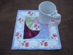 Quilted Mug Rug Floral Bouquet Small Placemat Pink by ISewTotes