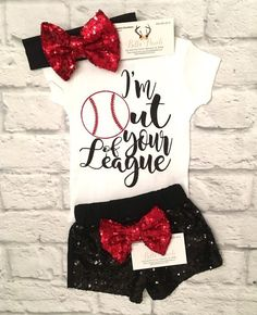 A personal favorite from my Etsy shop https://www.etsy.com/listing/524258170/baby-girls-clothes-im-out-of-your-league