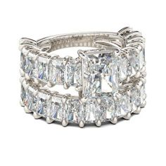 Jeulia Radiant Cut Created White Sapphire Wedding Set 6.92CT