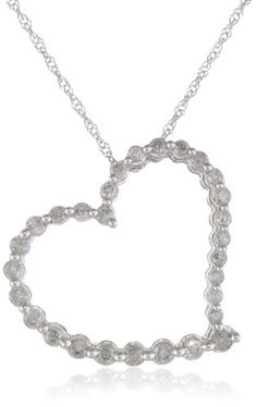 "10k White Gold Journey Heart Diamond Pendant Necklace (1/2 cttw, I-J Color, I2-I3 Clarity), 18"" Amazon Curated Collection,http://www.amazon.com/dp/B0030IM1SI/ref=cm_sw_r_pi_dp_82hstb0AE8Z6D86V"