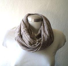 Flecked grey Infinity scarf jersey knit cowl scarf by CheriDemeter, $25.50