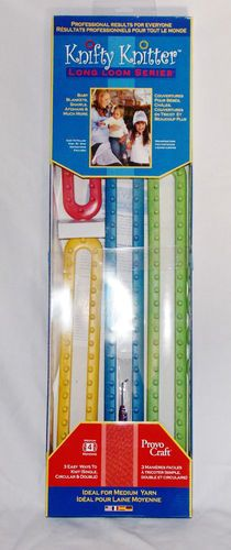 Knifty Knitter NEW Knitting Long Loom Set 4 Piece With Hook, Instructions and Needle
