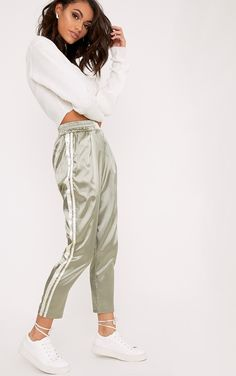 Sage Green Satin Side Stripe Boxer JoggersGet serious satin envy with these boxer inspired jogger...