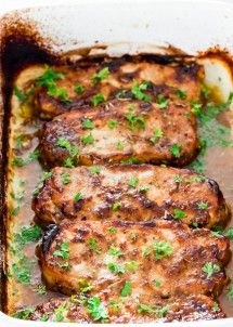 Mustard Balsamic Pork Chops with Rosemary - 5 minute prep time! These pork chops couldnt get any easier, theyre so delicious and tender, they simply melt in your mouth!