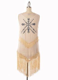 Boho Crochet & Fringe Vest With Embroidered Detail – DejaVu