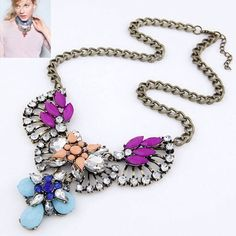 Statement crystal necklace Type: fashion necklace.                                              Material: acrylic, metal: zinc alloy, Size : 15 * 3.9 inch, no box Jewelry Necklaces