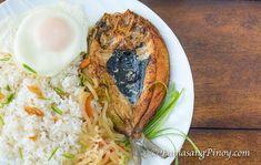 Fried Daing na Bangus with Garlic Fried Rice, Fried Egg, and Pickled Papaya (Daing Silog)