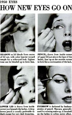 1950s eye makeup howto. #vintage #1950s #makeup      Have you seen the new promotion Real Techniques brushes makeup -$10 http://youtu.be/a1K1LTTa8AU