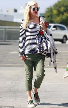 Star in stripes: Gwen Stefani looked in fine form as she took her boys on a playdate in Los Angeles on Thursday