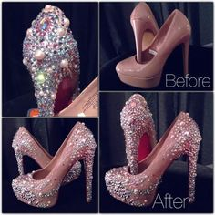 DIY Diamonds and Pearls Heels Pumps Makeover! Bling Shoes, Glitter Shoes, Rhinestone Shoes, High Heel Boots, Shoe Boots, High Heels, Crazy Shoes, Me Too Shoes, Shoe Makeover