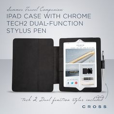 Summer travel companion: Our iPad Case with Chrome Tech2 Dual-Function Stylus Pen. Available at Kleinhenz Jewelers.  440.892.1020