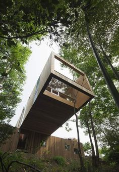This cantilevered wooden house by Japanese studio UID Architects hovers ten metres above the forest floor and has a hole underneath to let trees grow up inside