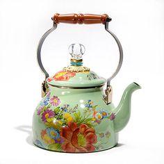 Flower Market Enamel 2 Quart Tea Kettle - Green   http://www.mackenzie-childs.com/Table+Kitchen/Flower+Market+Enamelware/Flower+Market+-+Green/?page_num=VA
