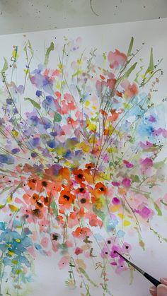 Watercolor Art Lessons, Watercolor Paintings For Beginners, Watercolor Techniques, Watercolor Flowers Tutorial, Floral Watercolor, Watercolour, Painting Flowers, Drawing Flowers, Flower Paintings