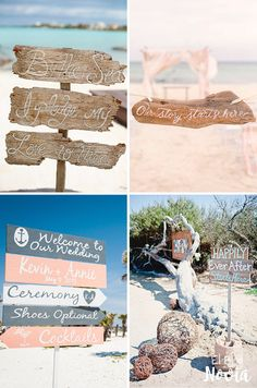 Letreros de madera para una boda en la playa