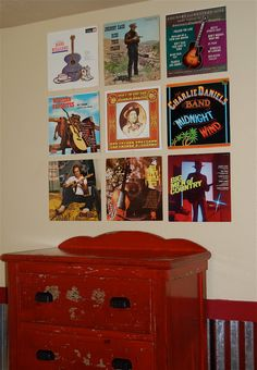 Hang Record Covers Over Vintage Furniture for Country Music Themed Room
