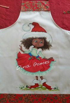 Pintura tecido, avental de natal