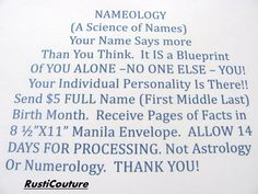 NameologyA Science of Names Send First Middle Last by rusticouture