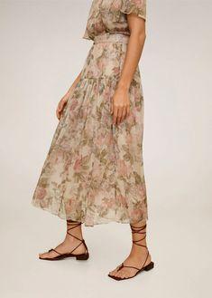 Floral midi skirt - Woman | Mango South Africa Denim Skirt, Midi Skirt, Mango, Chiffon, Bridesmaid Dresses, Wedding Dresses, Latest Trends, Farmer, Skirts
