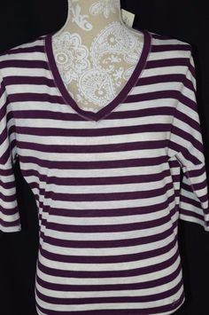 Aeropostale Womens XS Purple White Striped Loose Fit 3 4 Sleeve Shirt V-Neck 98fbcdc35