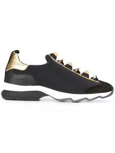 Fendi Studded Sneakers - Farfetch. Studded SneakersBlack Leather  SneakersLeather Slip On ShoesSlip ... b6dcf11aab4