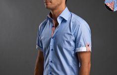 Blue Checkered Shirt Orange Floral Patterns Lining, Short sleeves Shirts - Dress Shirts for Men - French-Shirts.com