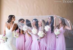 We LOVE this adorable shot of bride Sunshine wearing her Lauren Elaine Bridal gown & custom cathedral veil--and her bridesmaids!! We can't wait to see more from this gorgeous wedding! Http://home.lauren-elainedesigns.com