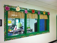 Decorated hallway window looking into the classroom - I love this!