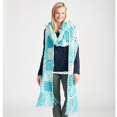 Cool patchwork scarf made with Caron cakes(tm) yarn from Michaels