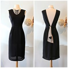 Xtabay Original ~ Vintage Style Little Black Dress ~ Vintage Style Cocktail Dress With Low Back and Matching Shawl