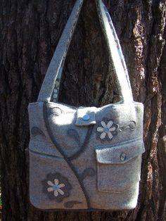 wool repurposed coat bag ♥