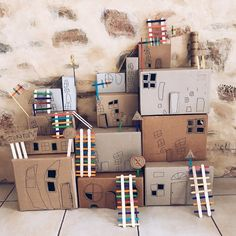 Photo by Mini Mad Things on March can find Crafts for kids and more on our website.Photo by Mini Mad Things on March Cardboard Houses For Kids, Big Cardboard Boxes, Cardboard City, Cardboard Box Crafts, Cardboard Box Ideas For Kids, Fun Crafts For Kids, Art For Kids, Easy Crafts, Karton Design