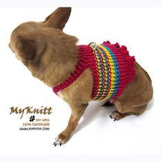 PInk Girly Dog Harness Puppy Harnesses Pets Handmade by myknitt #dog #puppy #harness #cat #pet #crochet #diy #arts #homedecor #accessories