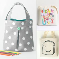 Cute Handmade Totes For Tots: love to make one as a library bag