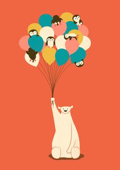Penguin Bouquet Art Print