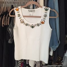 Beautiful beaded top✨ Brand : Joseph A   Size : S.  Great condition and beautiful beading along the neckline (only on the front). 20.5 inches from top to bottom of blouse Tops