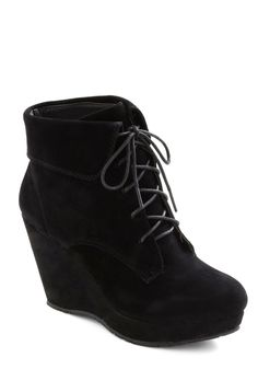 Ink It Over Boot - Black, Solid, High, Platform, Wedge, Lace Up, Party, Casual, Urban, Fall, Winter