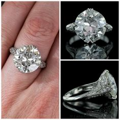 Ring 15   A stunningly beautiful 7.92 carat old European cut diamond is presented in a gorgeous platinum mounting expertly crafted in the Edwardian style. $158,500