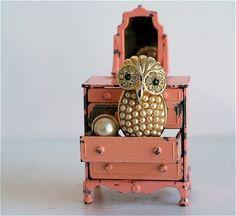 pearl owl in the sweetest little pink dresser